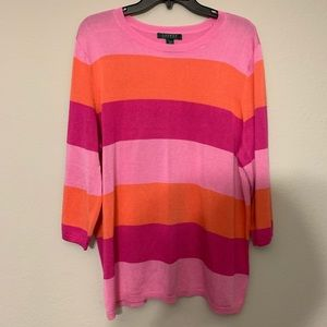 LRL Striped Pink and Orange Sweater-2X